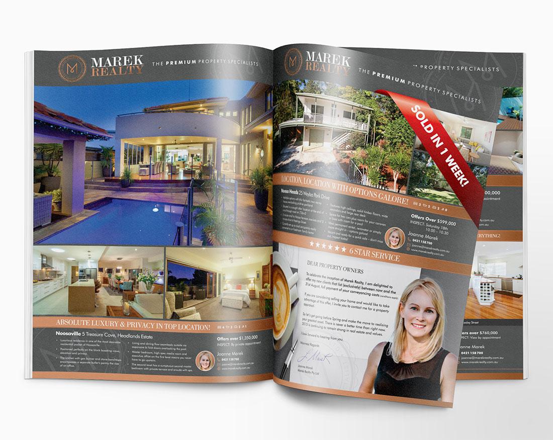 Marek Realty magazine ads