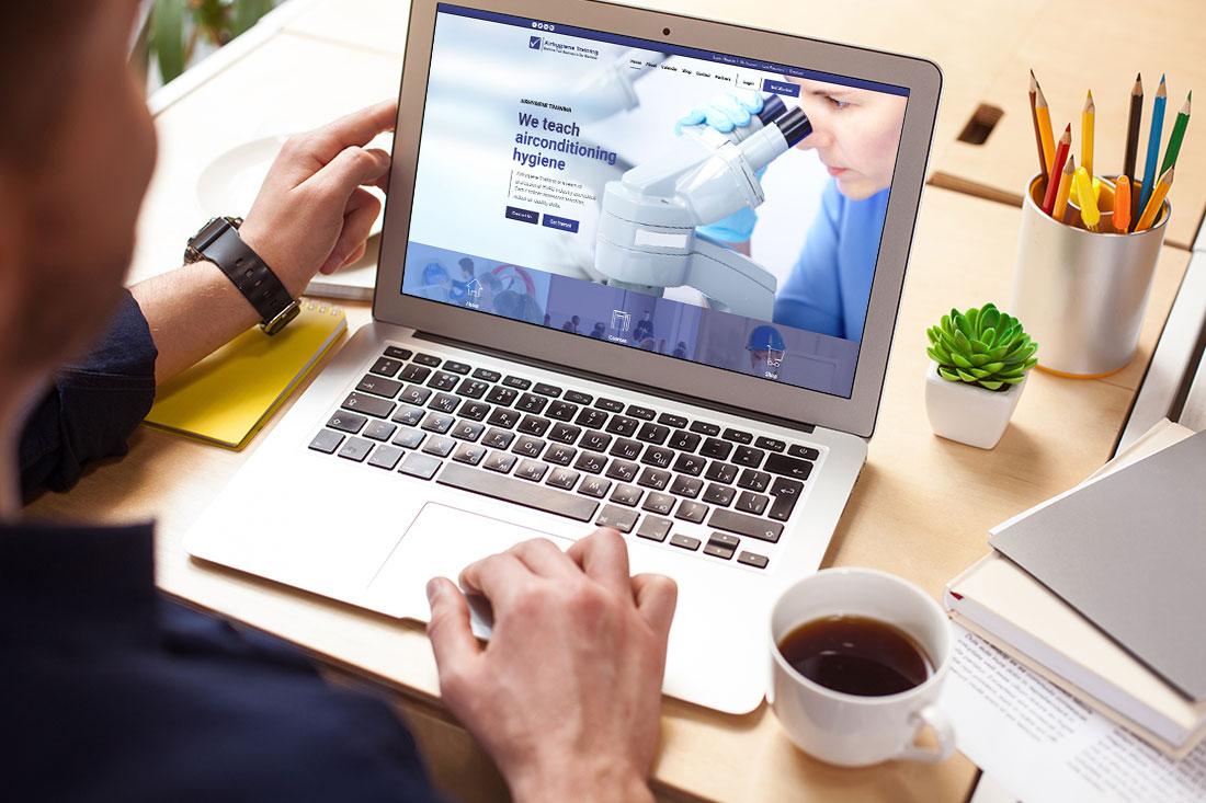 Airhygiene website on laptop