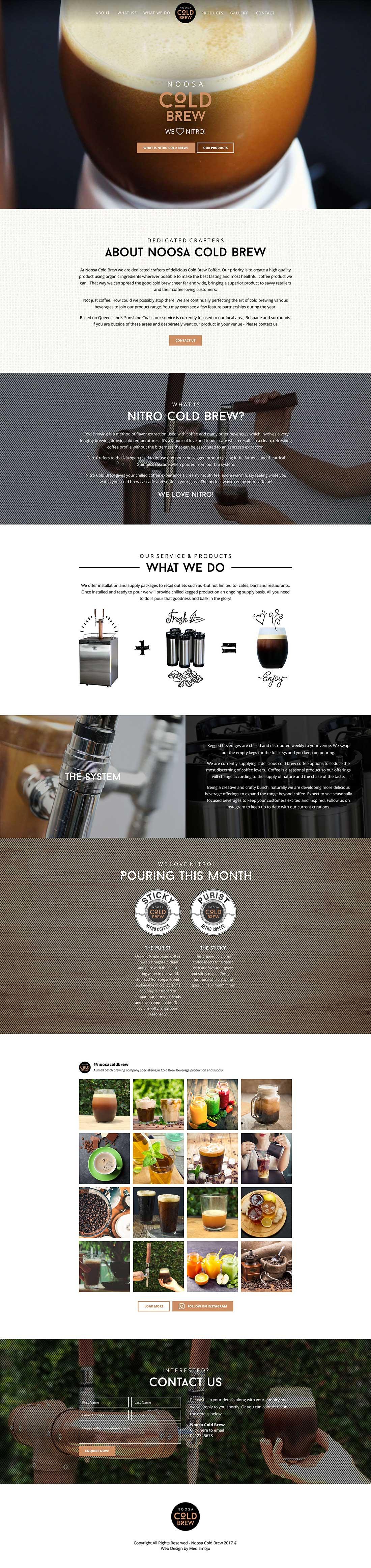 Noosa Cold Brew website home
