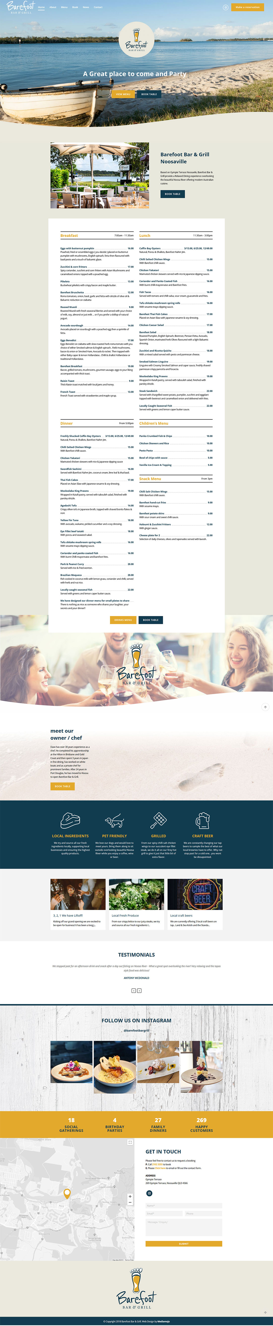 Barefoot Bar & Grill website design