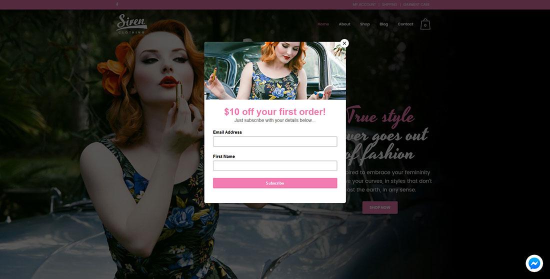 Siren Clothing pop-up offer