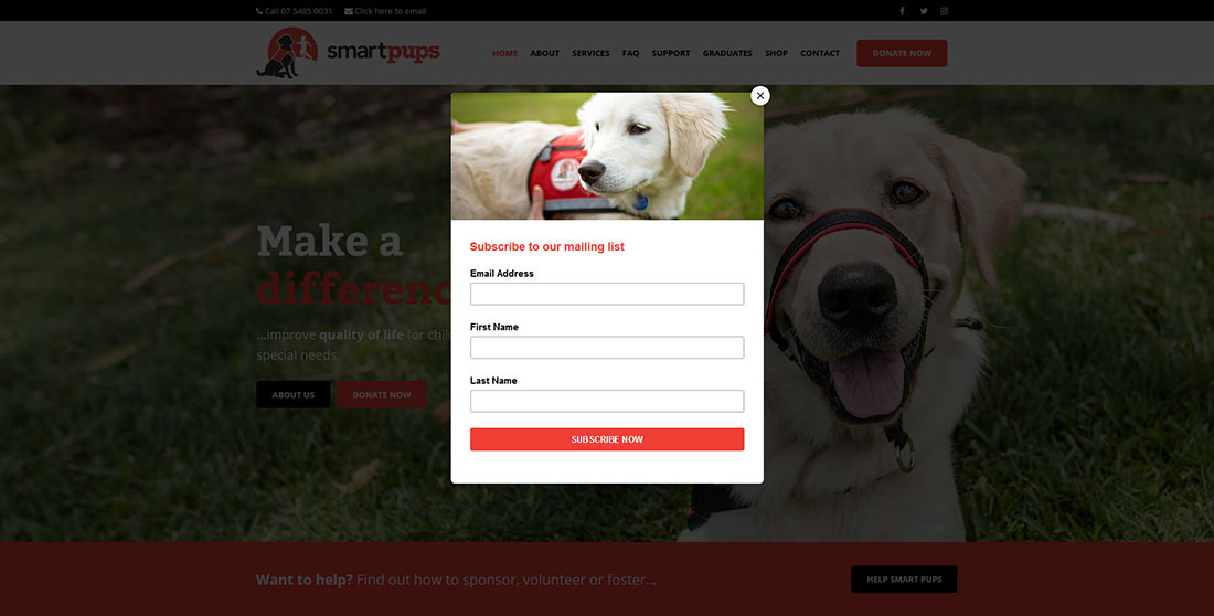 Smartpups email subscribe pop-up